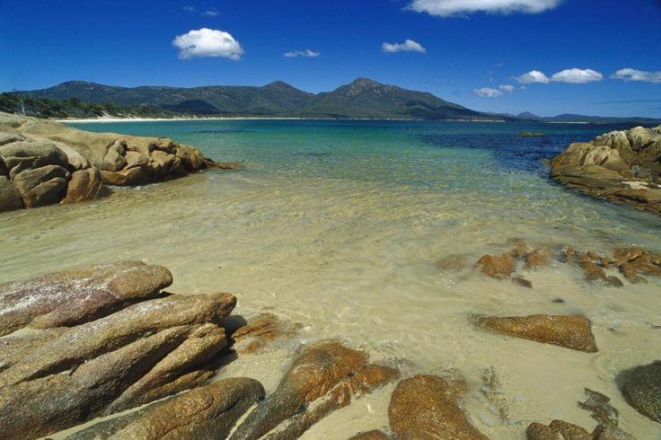 Wineglass Bay from Hazards Beach, Freycinet National Park, Tasmania, Australia