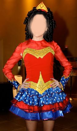 ive seen some odd irish dance costumes but this definitely is different i like wonder woman and irish dance but im not sure i would ever put the two - Irish Dancer Halloween Costume