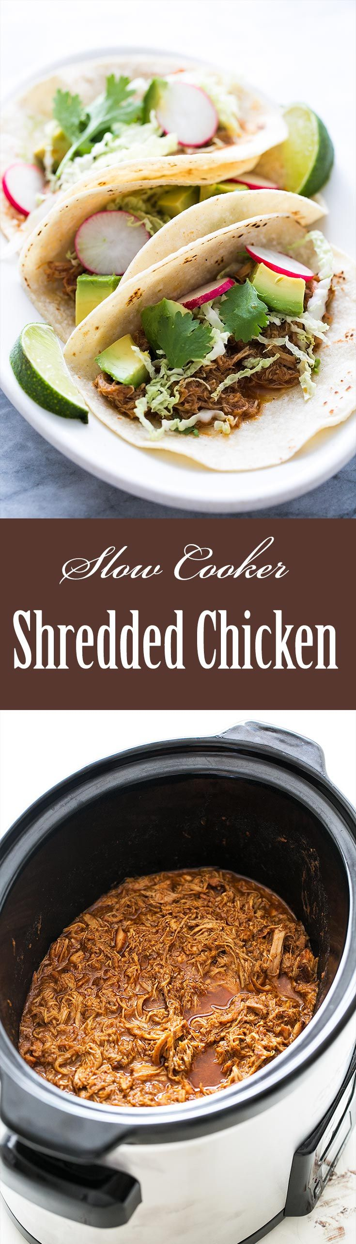 Slow cooker shredded chicken thighs, perfect filling for tacos and burritos! So easy, only 10 minutes prep. Chicken thighs coated in chili rub, then slow cooked until tender and easily pulled apart into shreds with a fork. On SimplyRecipes.com