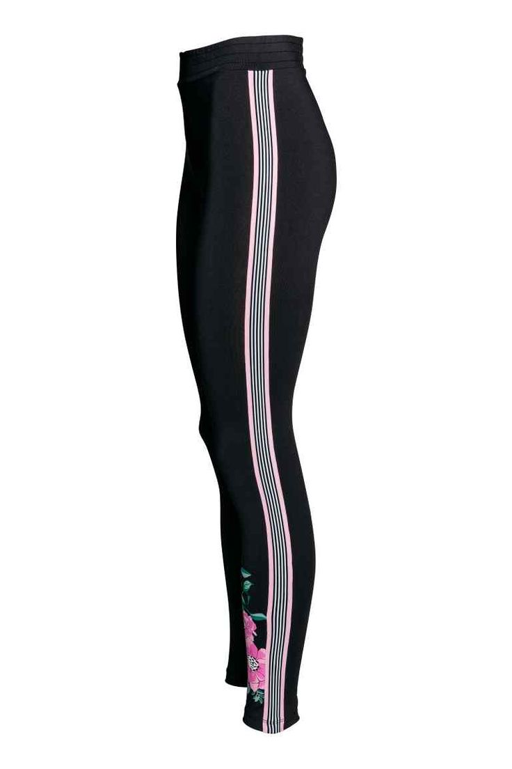 Legging met overlangse biezen - Zwart/roze bloemen - DAMES | H&M NL