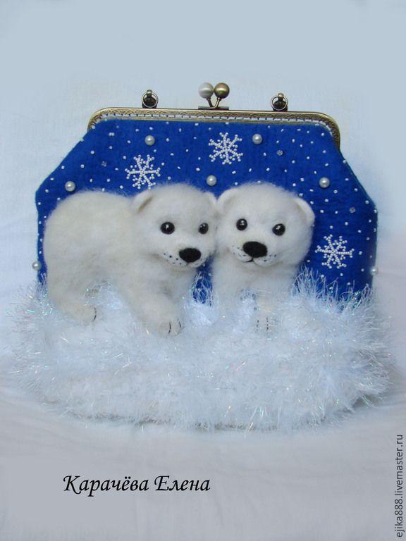 """Купить Сумка """"Белые медведи"""" - сумка с медведем, мишка, белый медведь, темно-синий"""