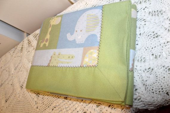 Double Layer Receiving Blanket  Animal Print Green by KRaeDesign
