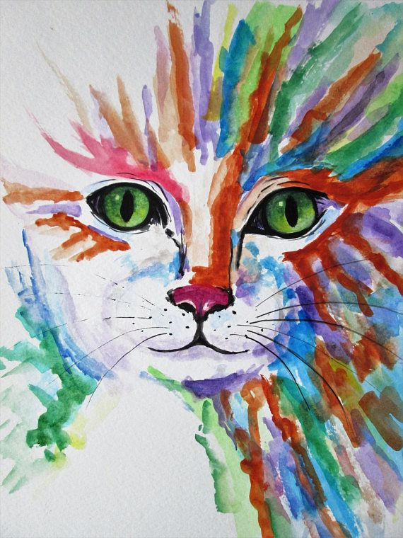Original Cat Art Kitten Painting Cat Portrait Cat Painting