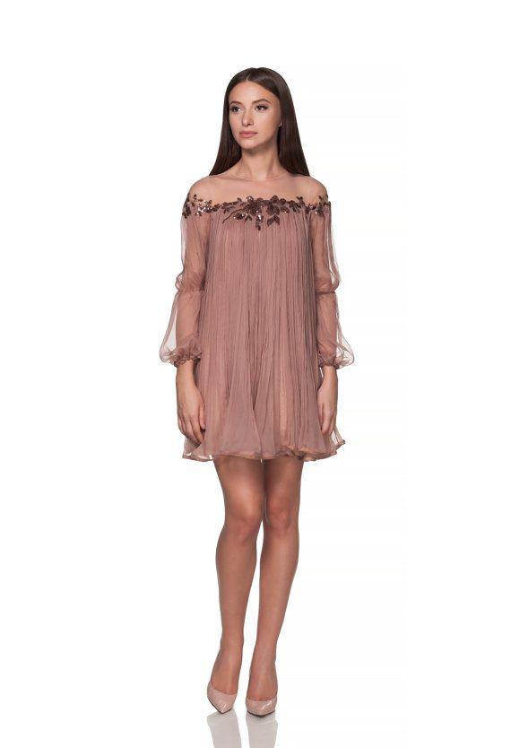 Beige/Almond Short silk engagement gown/dress/ Prom dress/ Wedding dress/ pleated dress silk boho style embroidery/ maternity wedding dress