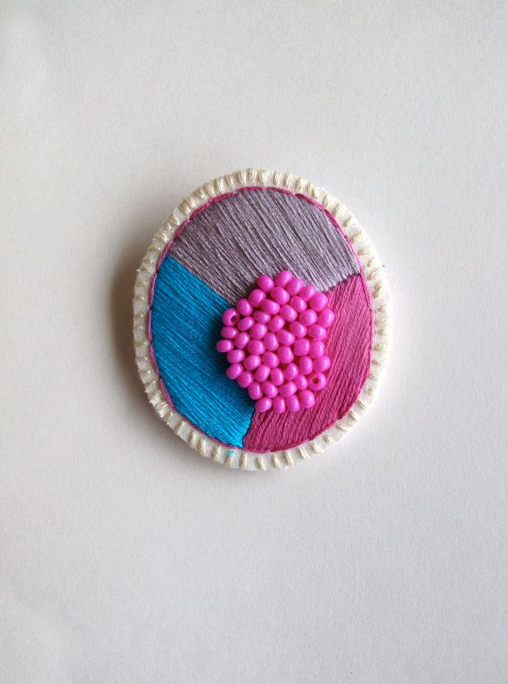 Colorful geometric brooch embroidered bright by AnAstridEndeavor, $35.00