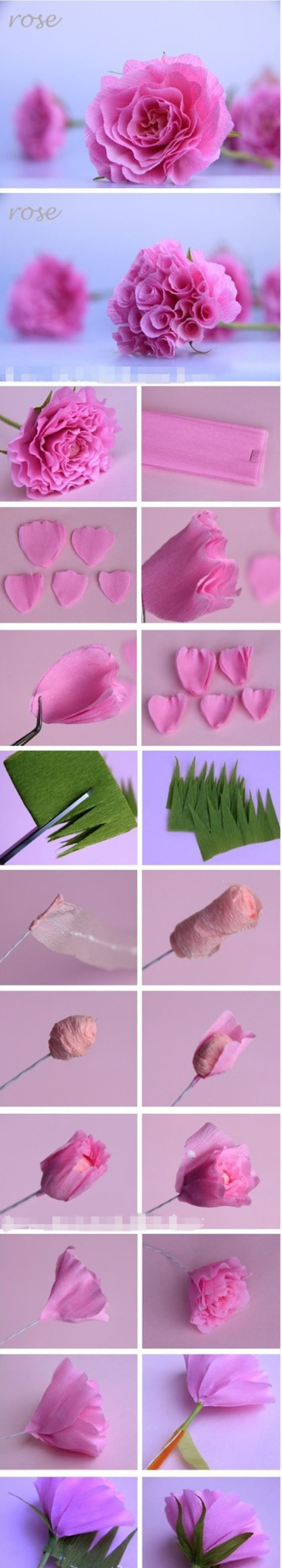 pink paper rose m Wonderful DIY pink paper rose