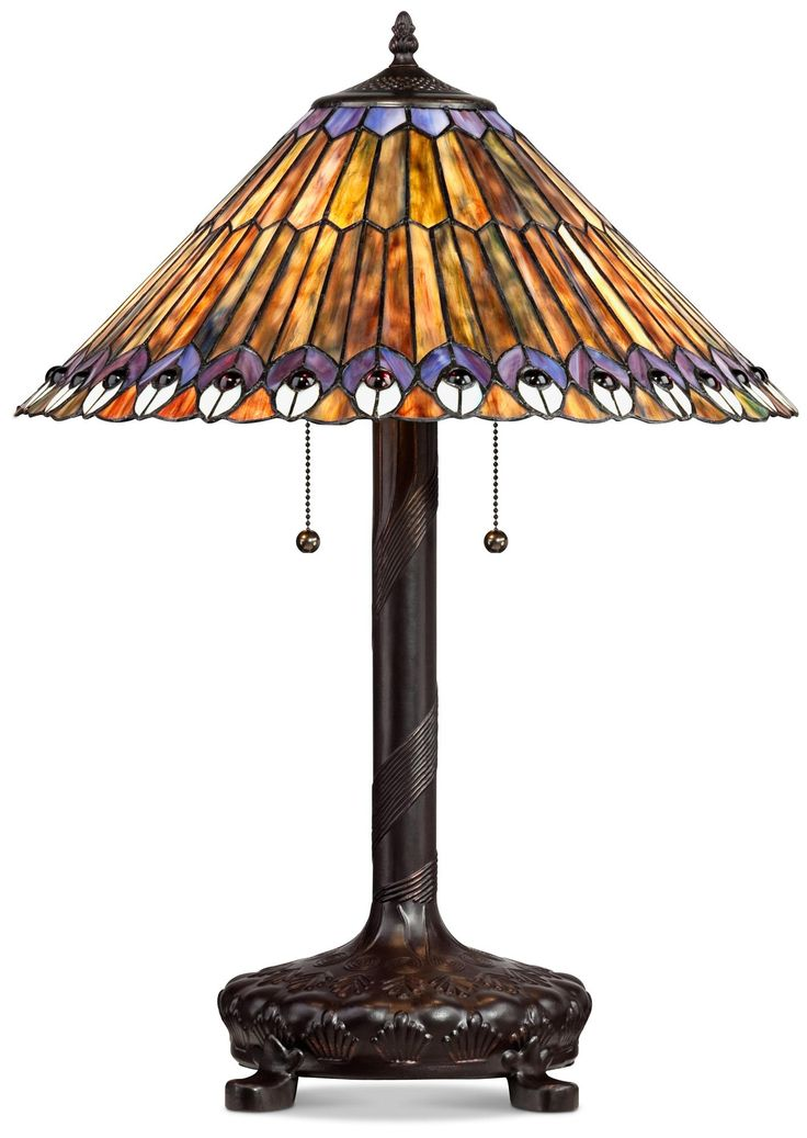 Peacock motif robert louis tiffany style table lamp