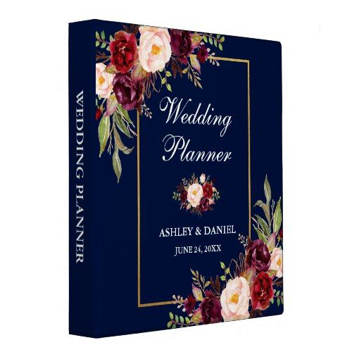 Floral Blue Burgundy Gold Wedding Planner 3 Ring Binder