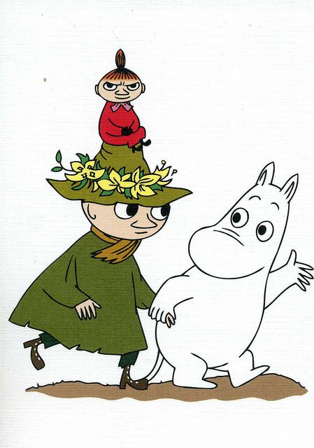 Snuffkin, Little My and Moomin