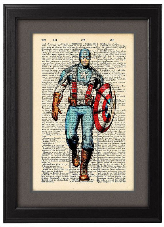 Captain America comic style Dictionary Print Book by Natalprint, $8.00