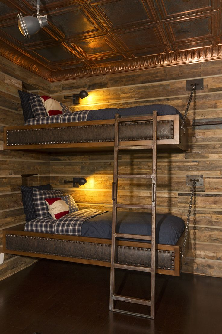 man cave modern log cabin Ralph Lauren style bunk beds by Van Parys Architecture