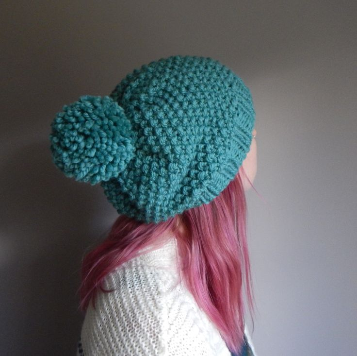 Super slouchy knit beanie with a pom pom, teal blue wool knit slouch hat, hat with a pom pom, ocean blue boho knit hat, The Super Slouch by LoveEweNatural on Etsy