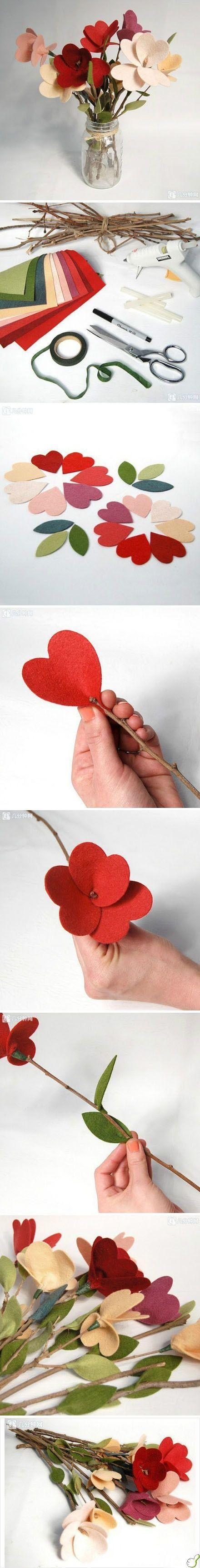 Tutorial para aprender a hacer un ramo de flores de fieltro con ramas de árboles