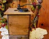 SALE 1800's Primitive Antique Victorian Circa Coffee Grinder Wooden Dovetailed Old Farmhouse Kitchen
