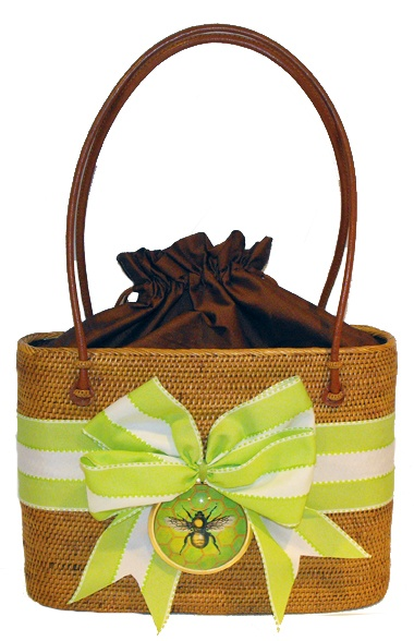 Straw Tote by Bosom Buddy Bags- Dragonfly - Flag Lady Gifts - Flag Lady Gifts