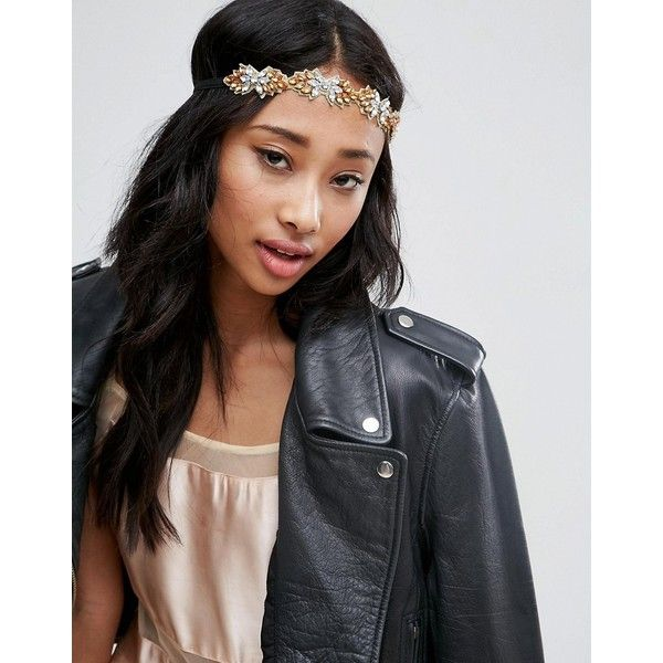 ASOS Occasion Jewel Headband ($18) ❤ liked on Polyvore featuring accessories, hair accessories, gold, asos, head wrap headband, jewel headband, head wrap hair accessories and hair band accessories