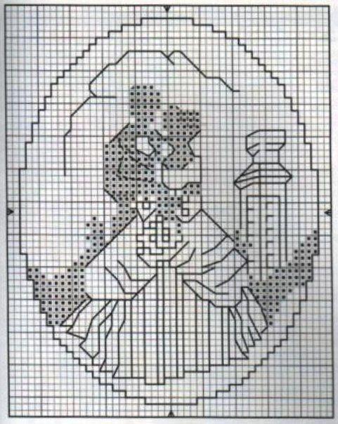 Black and white cross-stitching