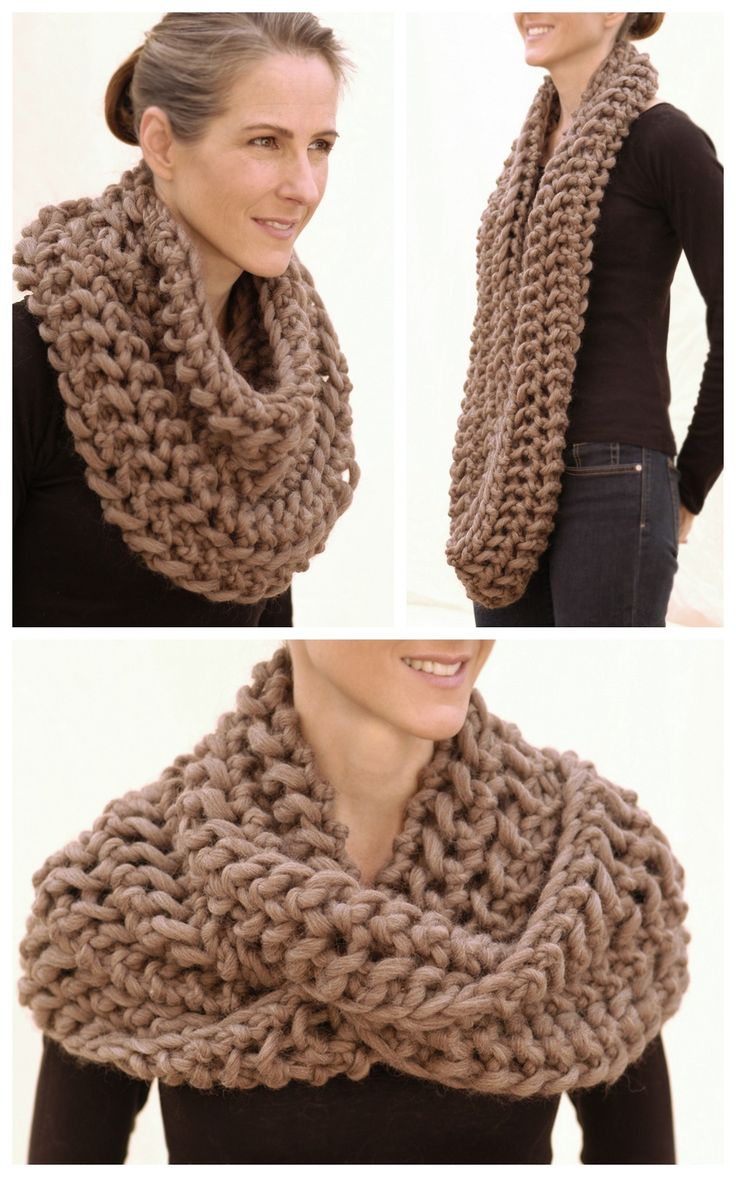 DIY Chunky Knit Infinity Scarf Pattern from Knit 1 LA. This Outlander-like sc...