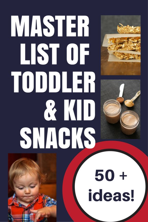 Master list of over 50 HEALTHY toddler and kid snacks! Pin this for inspiration on those days when you don't know what to feed your kids!