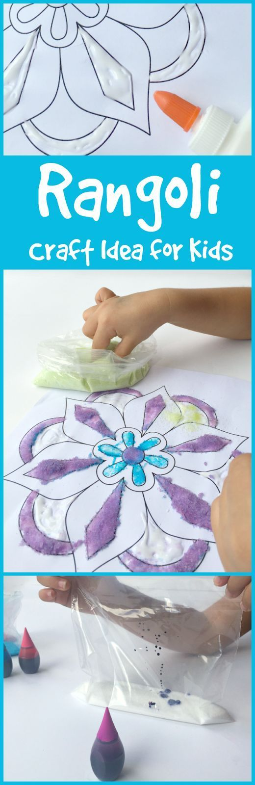 Rangoli Craft Idea for Kids for Diwali to encourage kids to learn about the world through art.