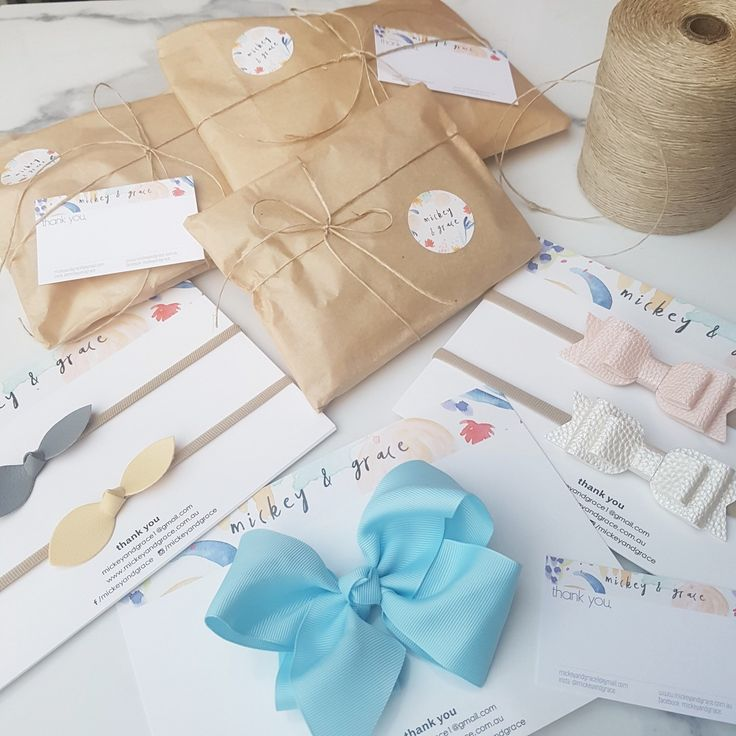 I love seeing my Etsy branding packages in print! All the shop graphics I provide are in large enough formats and can be turned into stickers, stationary and cards. Gorgeous bows by Mickey and Grace!