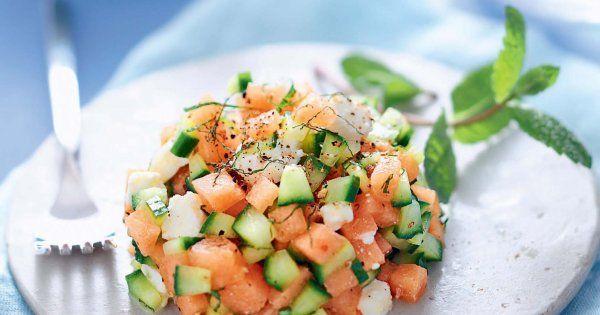 tartare de melon, melon, feta, fromage,  concombre, menthe, entrée, citron vert, huile d'olive, menthe, sel, poivre