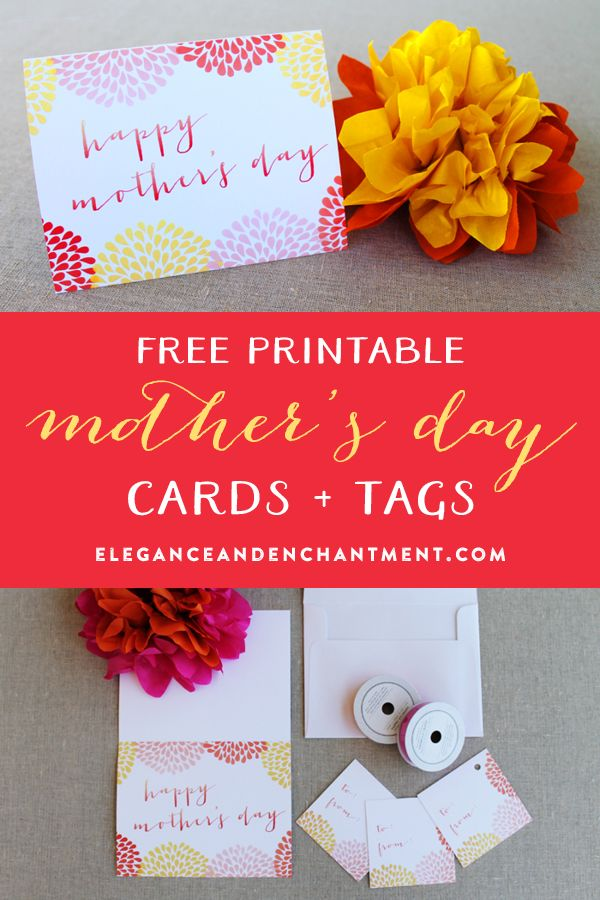 Watercolor Style Mother's Day Card and Gift Tags // Free Printable from Elegance & Enchantment