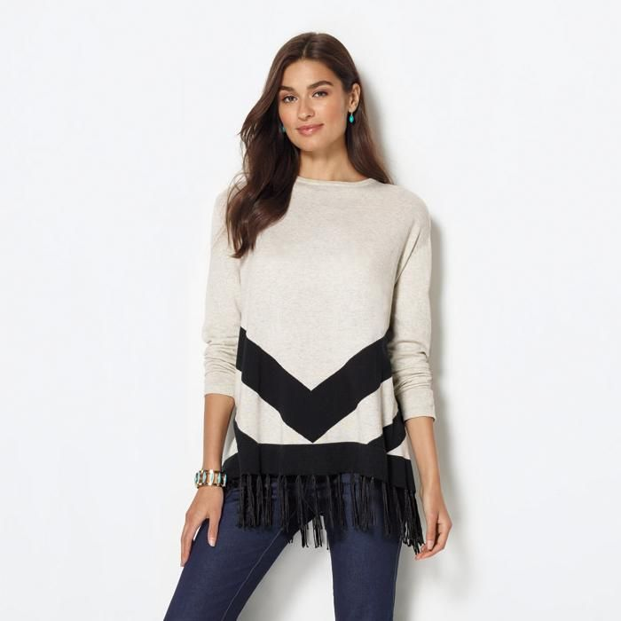 343ef0091 #Avon #Marley Sweater. Meet your new favorite sweater: the heathered-knit,  poncho-style Marley Sweater with black fringe detail. Reg. $39.99.