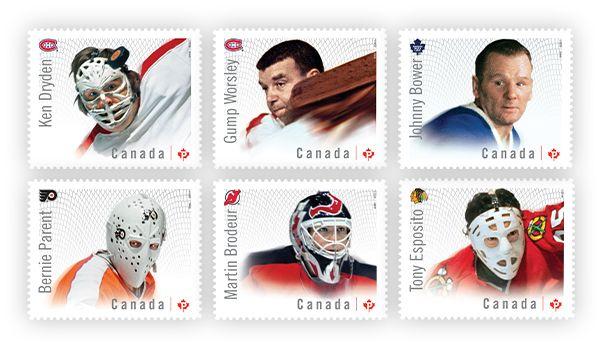 Des timbres sur les Grands gardiens de but canadiens de la LNH honorent six joueurs légendaires | Postes Canada