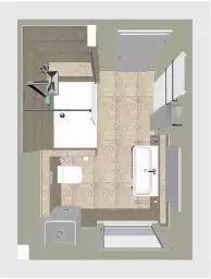 Der Grundriss des neuen Komfort-Duschbads