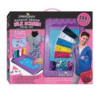 Children can customize clothing and accessories with the Silk Screen Super Set. The set includes a silk screen machine, ten stencils, five fabric paints, a paint brush, squeegee, silk material, t-shirt sketch pad, design sheet, colored sequins, design guide and more.