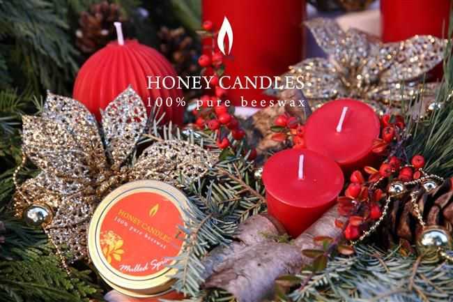 Red Beeswax Candles for Christmas