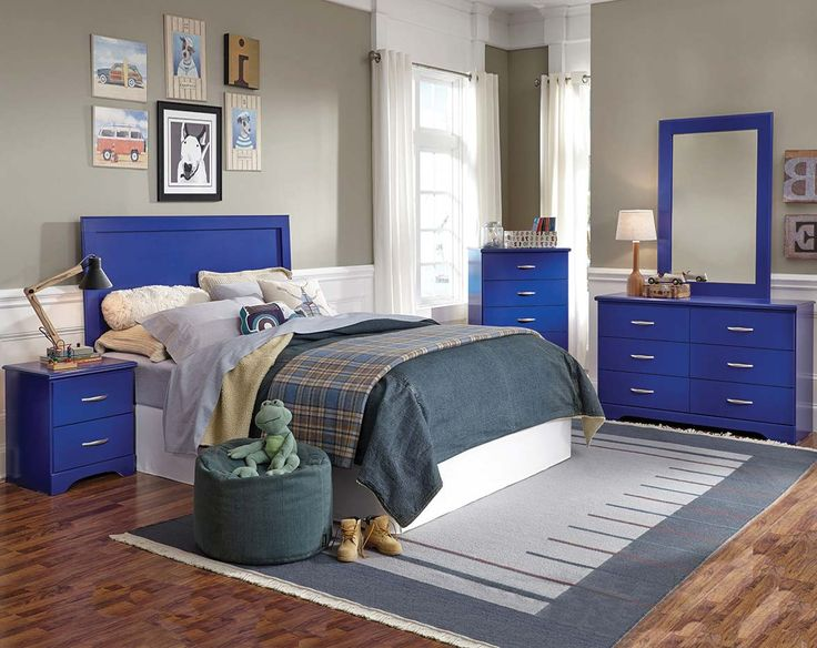 Bright Blue Three or Five Piece Bedroom Suite | Leo Blue Bedroom Set | American Freight