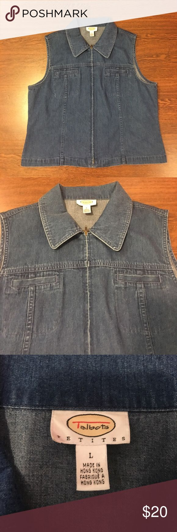 Talbots Blue Jean Sleeveless Zip Up Vest Jacket Talbots Blue Jean Denim Sleeveless Zip Up Vest Jacket. 100% Cotton. Women's Size Large. Lightly Worn. In Great Pre Owned Condition. Talbots Tops
