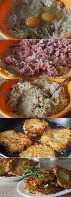 Вкусно, ароматно! Картофельные оладьи с беконом и ветчиной  =ИНГРЕДИЕНТЫ картофель 2 кг ломтики ветчины 4 шт. бекон 150 г лук репчатый 1 шт. мука пшеничная 4 ст. л. масло растительное соль перец черный молотый яйцо 2 шт.