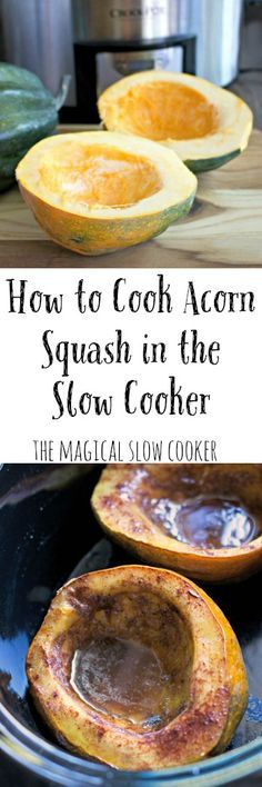 How to Cook Acorn Squash in the Slow Cooker. Use 2TB Coconut sugar and 1 tsp cinnamon. Pat of butter in each halve