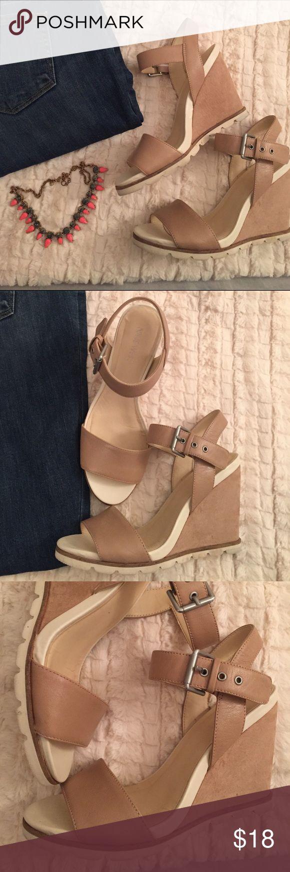 Nine West Wedge Neutral Sandals Excellent Condition. Beautiful neutral sandal. Nine West Shoes Sandals