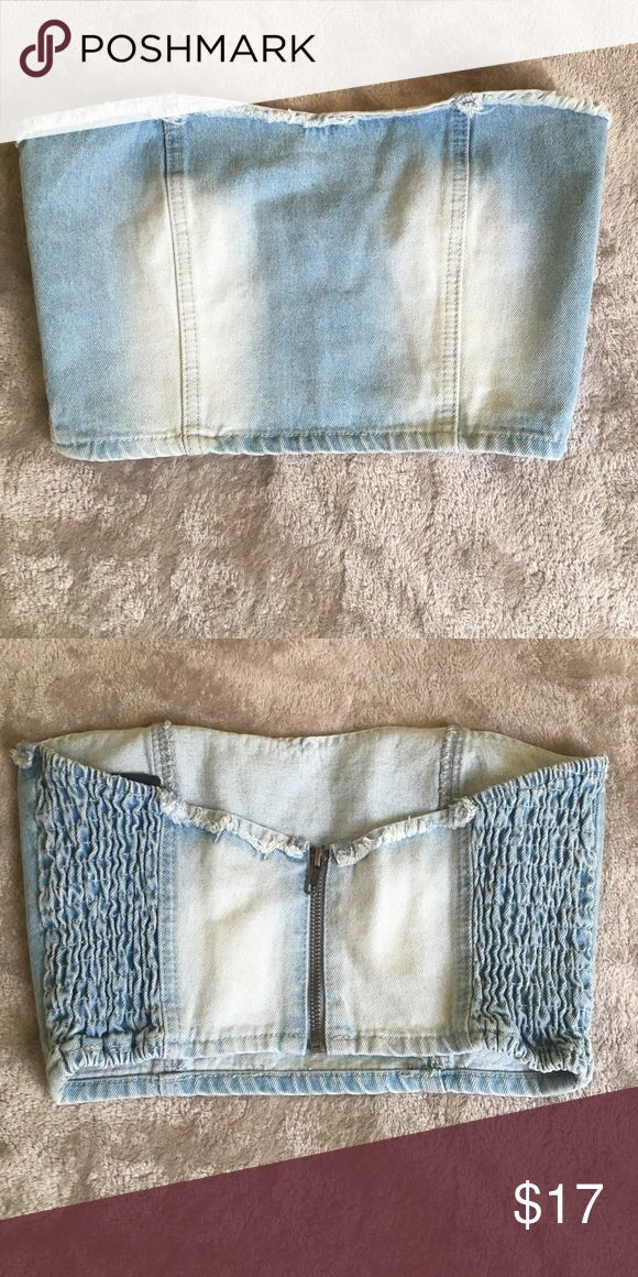 Forever21 light denim corset top So trendy and cute! So Kim k style ❤️ it! But can't pull it off!😁 Forever 21 Tops Crop Tops