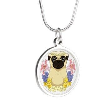 Spring Pug Silver Round Necklaces from cafepress store: AG Painted Brush T-Shirts. #necklace #pug #Spring