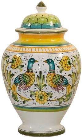 Italian Ceramic Centerpiece Urn - Lovers Peacocks - Beautiful!!