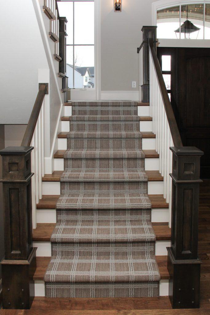 Neutral Plaid Carpet Staircase Runner Stair Runner Carpet | Modern Carpet Runners For Stairs | Geometric | Design | White | Curved | Kitchen Modern