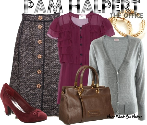 The grey cardigan again. Inspired by Jenna Fischer as Pam Halpert on The Office (US).