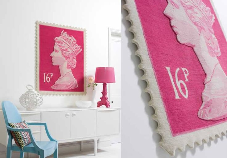 Pink carpet on a wall with stamp graphics. Interior architecture | Ramsoskar