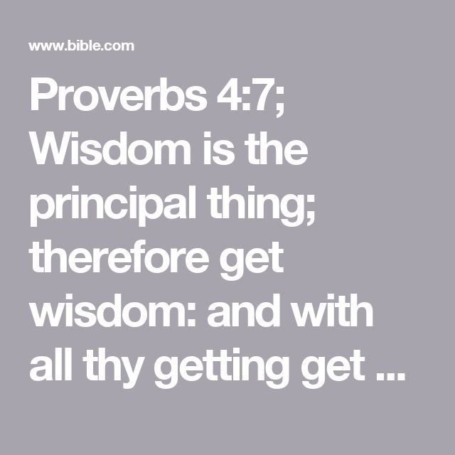 Proverbs 4:7; Wisdom is the principal thing; therefore get wisdom: and with all thy getting get understanding.