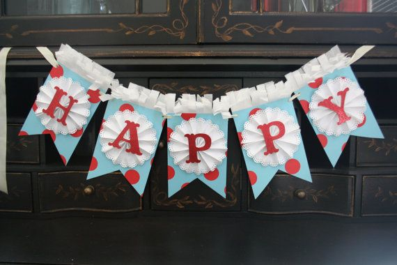 Red and Aqua Party Banner Happy Birthday by melizabethdesign, $35.00