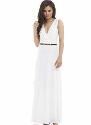 Wrap Front Belt Cream Maxi Dress www.UsTrendy.com #maxi #white #belted #vcut #gold #comfy