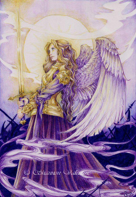 """Fantasy Warrior Angel 5x7 Art Print """"Golden Warrior"""""""