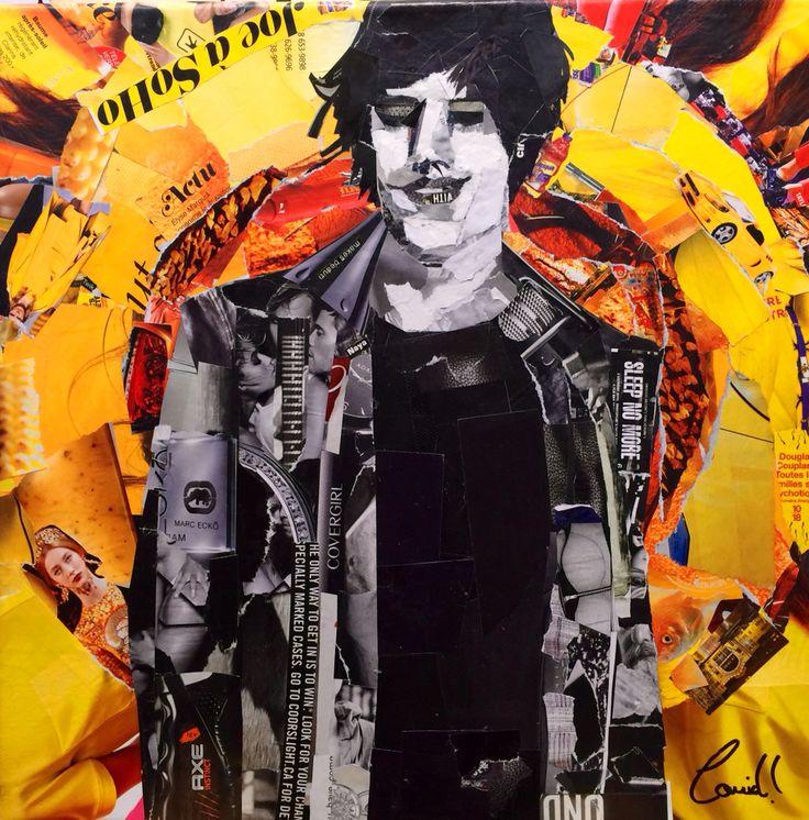 """Artist: Louich! Collage on canvas 2016 """"Le Dôme de Jean Leloup"""" 12"""" x 12"""" louichart@gmail.com #collage #louichart"""