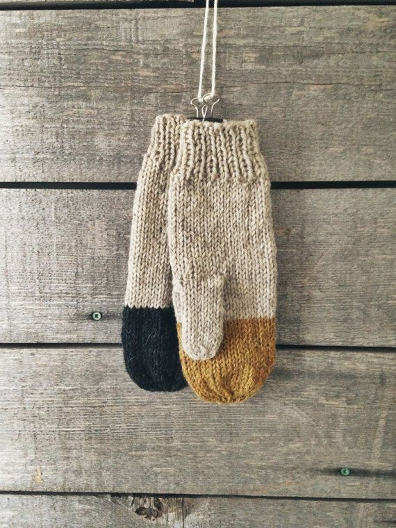 29th november 2016 Colorblock Mittens in Midas Rustic Handknit by WholesomeHandknits