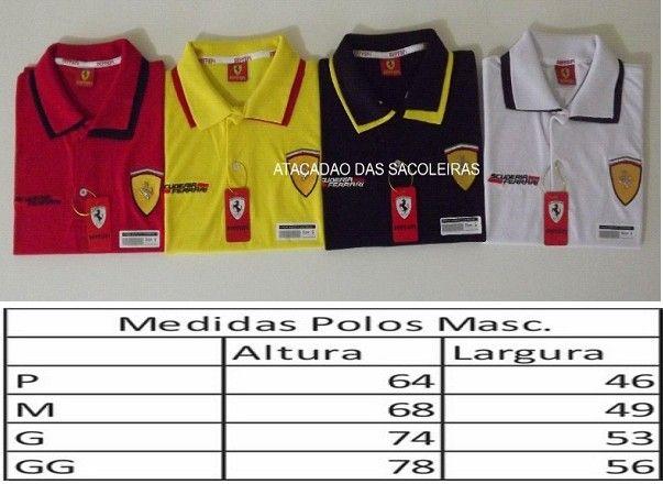 Polo Ferrari Malha Piquet - 5 Peças - Para Sacoleiras e Lojistas.